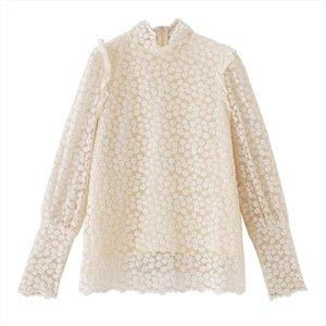 PERHAPS U women white black apricot turtle neck shirt lace Hook flower Little daisies puff long sleeve shirt spring B0751