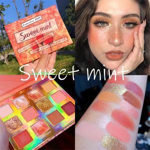 Sweet mint 12 Colors Peach Pressed Glitter Matte Eyeshadow Palette Waterproof Makeup Palette Glitter Shimmer Eyeshadow Pigment free shipping