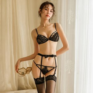sexy mousse black sexy woman lingerie perspective sexy lace bow garter open crotch panties gathered bra set two-pieceX1122