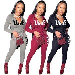 Women Sweatsuit 2 pcs Outfits Letter Tracksuit Jacket+Leggings Jogger suits Long sleeve sportswear Fall winter clothing 2XL Loungewear 4384