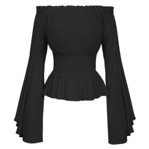 Womens Gothic Renaissance Blouse Flare Sleeves Ruffles Off Shoulder Corset Tops Medieval Victorian Cosplay Costume Pirate Shirt A1112