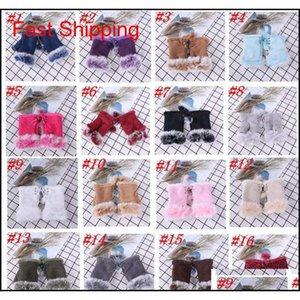 20 couleurs mode hiver chaleureuse fille gants de fourrure de lapin en cuir chaud hiver gants sans doigts coloré cadeaux de Noël ZZA1415 CBVIG