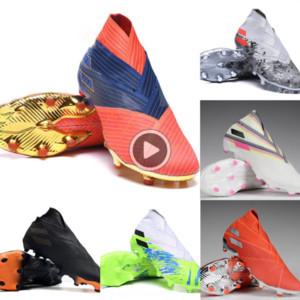 u2uUs Laceless hot Messi Nemeziz 19 FG Mens Junior Bootssneakersshoes Active Red Chrome Waterproof Shoes soccer cleats