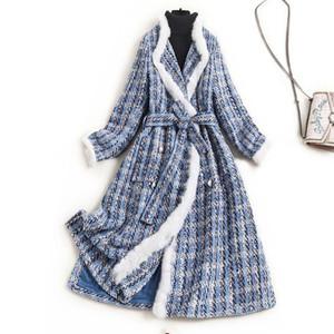 2020 Winter Frauen Tweedmäntel Warmweiß Faux Pelzbesatz Elegante Schärpen Doppelrei Breasting Pearls Buttons Designer Oberbekleidung Blau