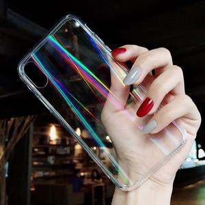 Gradient Aurora Rainbow Laser Glossy Transparent Acrylic Back Cover Case For iPhone 12 Mini 11 Pro Max 8 7 6 6S SE 2020 SE2