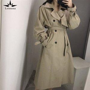 Leiouna Casual Oficina suelta Damas Cinturón 2020 Moda Nueva zanja Abrigos Mujeres Cinturon Cinturón Cinturón Coreano Cortavientos Abrigos LJ201106