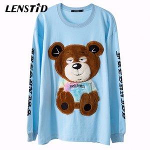 Lenstid Men Hip Hop Beversize Футболка Волосатый NAP Bear Вышивка Harajuku Streetwear Tshirt С Длинным Рукавом Хлопок Свободные футболки