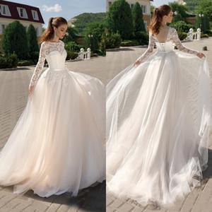 2021 Summer Tulle Boho Wedding Dresses Jewel Neck Long Sleeves Lace Appliqued Bride Gowns Lace-up Back Vestidos de Novia