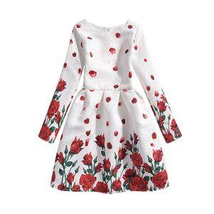Dresses for Girls Dress Long Sleeve New Designer Rose Flower Print Girls Clothes Children Dresses Kids Costumes Q0113