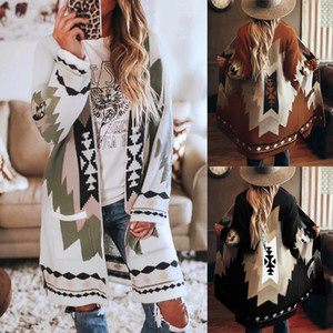 Jacket women's hot style European and American autumn and winter women's clothing fashion loose mid-length printed woolen coat