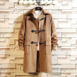 Sourlet longue de la gamme longue de la manteau longue Slim Slim Solide Wild Rubri-down Collier Casual Windbreaker Homme Homme Bouton Trench Coat M-5XL1