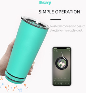 New style 18oz Bluetooth Music Cup Louder Speaker Wireless Water Tumbler Insulated Waterproof Coffee Mug Gift Present
