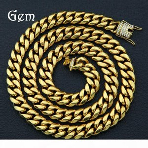 14mm Cuban Chains Hiphop Jewelry For Mens Brand Design 18k Gold Plated Hip-hop Necklaces Full Diamond Accessories Wholesale