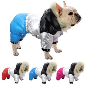 French Bulldog Warm Thicken Pet Clothes Winter Dog Jacket Coat Hooded Pets Clothing Jumpsuit For Medium Large Dogs Y1124