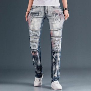 New Arrival Fashion 2021 Men's Biker Jeans Patchwork Spliced Ripped Denim Pants Male Straight Slim Patch Beggar Vaqueros Hombre
