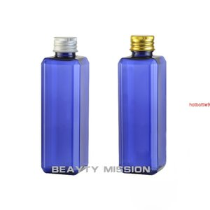 BEAUTY MISSION 24pcs 250ml Blue Empty Cosmetic Bottle Square Plastic Liquid Emulsion With Aluminum Capgood qualtity