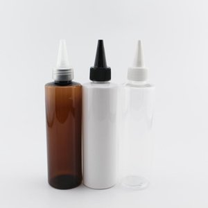 200ml X 12 Empty Refillable Plastic E-Liquid Bottles With Pointed Mouth Lids White Clear Black PET Container For Cosmetic