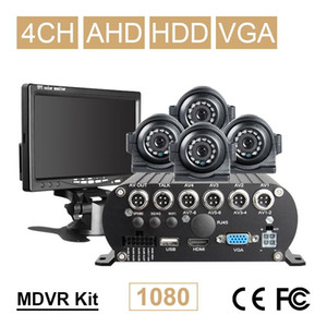 VGA Monitor+4PCS Front Side Metal Camera+AHD 4CH Hard Disk Mobile Dvr Recorder Kits For Vehicle Bus Taxi Van Video Playback I O
