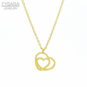 Fysara Stainless Steel Jewelry Love Hearts Pendant Necklace For Women Party Jewelry Statement Short Collier Female Necklace Gift sqcyqg