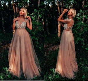Chamapagne Prom Dresses Sexy Illusion Lace Appliques Sheer V Neck Beading Tassels 2021 Arabic Evening Gowns Long Formal Party Dress AL7866