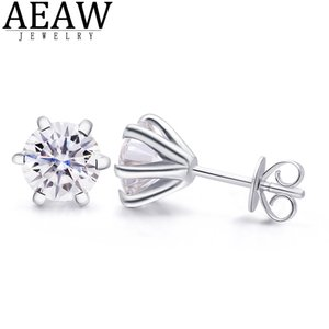 AEAW Corte redondo Total 4ctw Prueba de diamante Pasada Moissanite Plata Pendiente Joyería Regalo de novia Q1218