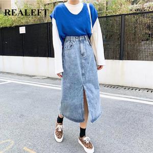 REALEFT Vintage Women's Long Denim Skirts 2021 New Front Split High Waist Fashionable Jeans A-Line Skirts Female Spring Summer