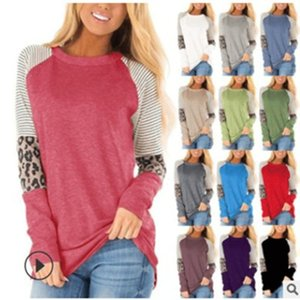 2020 women's autumn and winter new hot sale women's round neck color matching leopard long sleeve T-shirt