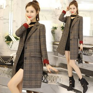 Autumn windbreaker female medium and long Korean version autumn new popular small chic plaid suit coat tide 201124