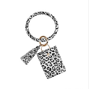 Credit Wallet Handbag Party Wristlet Card Keychain Bracelet With Holder Bag Leopard Bangle Tassel Keyring Favor OOB4033 Wbmsn