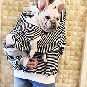 Otoño Invierno Perro Ropa para mascotas Ropa a juego para perros Capa de abrigo Stripe Perro Sudaderas Dog Sudaderas Bulldog Francés Ropa para Perros Ropa 201102
