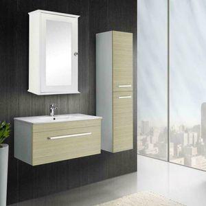 Bathroom Bath Cabinet Wall Mount Storage Organizer Rack w  Mirrors Door