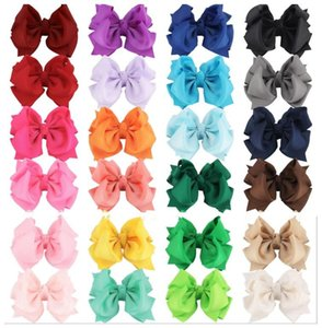 24 color 4 inch Baby Girl Grosgrain Ribbon Hair Bows With Clip Children Kids Women Hairpin Hairclip Headwear colors