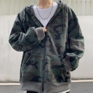 Herbst Herbst und Winter koreanische stil Ins Vintage Camouflage plus Samt Hoodie entspannte lässige Reißverschluss Strickjacke Mantel Unisex Mode