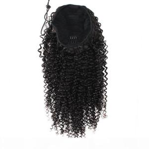AFRO Kinky Кудрявые человеческие волосы Ponytail Extensions Kinky Curely DrawString Человеческие волосы Hair Hair Ponytail Hairpieces Курсный клип в хвостике