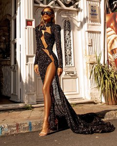 Aso Ebi 2021 Arabic Black Sexy Sequined Evening Dresses High Neck Beaded Prom Dresses High Split Formal Party Second Reception Gowns