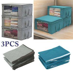 3 Pcs Non-woven Storage Bags Damp-proof Anti Mold Foldable Clothes Quilt Zipper Storage Bag Wardrobe Clothing Organizer Box