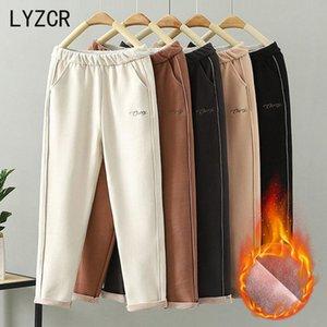 Lyzcr Woolen mulheres calças de inverno grosso quente vintage outono engrossar feleece calças harem calças para mulheres veludo capris