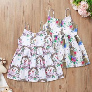 INS Baby Girls Tutu Dresses Kids Flower Rabbit Printed Sling Skirt Summer Easter Party Elegant Agaric Skirt