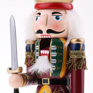 30cm Wooden Nutcracker Solider Figures Model Puppet Doll Toy Home Decor #1 Y0107