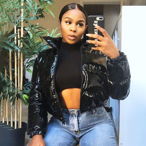 Sisterlinda Faux PU Leather Y2K Bubble Puffer Winter Warm Jacket Women Coats Long Sleeve Outerwear Zipper Casual Slim Parkas2021