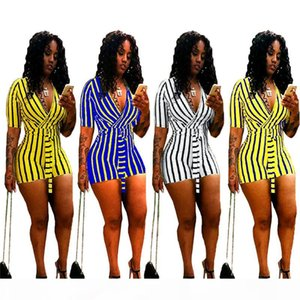 Women short sleeve bandage Jumpsuits fashion V neck strip overalls plus size bodysuits shorts summer sexy Rompers night clubs wearing 2512