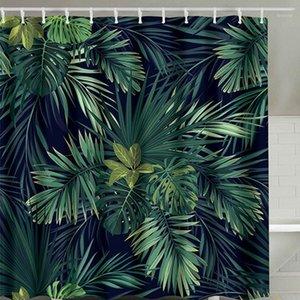 Grüner Duschvorhang Blätter Druck Moderne Naturpflanze Polyester Badezimmer Vorhänge 180 x 180 cm1