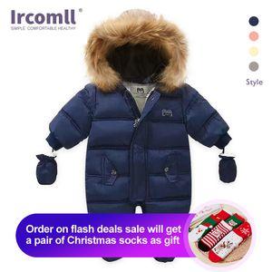 Ircomlow Yeni Doğan Bebek Kış Giysileri Toddle Tulum Kapşonlu içinde Polar Kız Erkek Giysileri Sonbahar Tulum Çocuk Giyim LJ201023