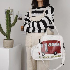 Creative Car Shaped Canvas Bag For Women Cartoon Mouse Print Shoulder Bag Women Student Casual Messenger Crossbody Bags Lady