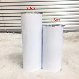 Sublimazione Skinny Tumbler 15oz 20oz Tall Slim Bicchieri dritti Bianco Vuoto Tazza d'acqua isolata sottovuoto per trasferimento di calore