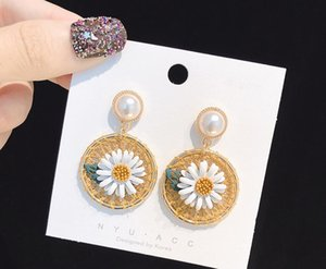 2020 The new Korean style fresh, lovely and sweet summer knitted earrings in the shape of small Daisy straw hat 442