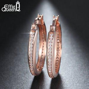 Effie Queen Rose Gold Color Big Hoop per Gold-Color Cubic Zircon Orecchini Donne Elegant Party Jewelry Hee140