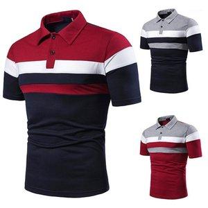 Contrasto manica corta Top Casual Mens Tees Lepel Neck Designer Mens Estate Striped Stampato Polos Fashion