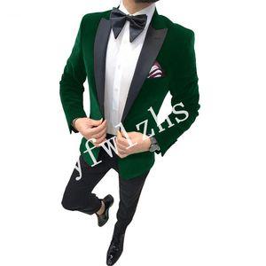 Handsome Velveteen Groomsmen Peak Lapel Groom Tuxedos Mens Wedding Dress Man Jacket Blazer Prom Dinner suits (Jacket+Pants+Tie)W296