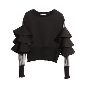 TwoTwinstyle Patchwork Mesh Perspektive Kurze Weibliche Sweatshirt für Frauen Top Pullovers Lose Schwarze Herbst Top Kleidung Neue 2020 MX200812